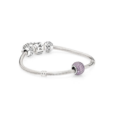 Purple Pavé and Silver Heart Safety Chain Silver Bracelet - PANDORA - #R500103