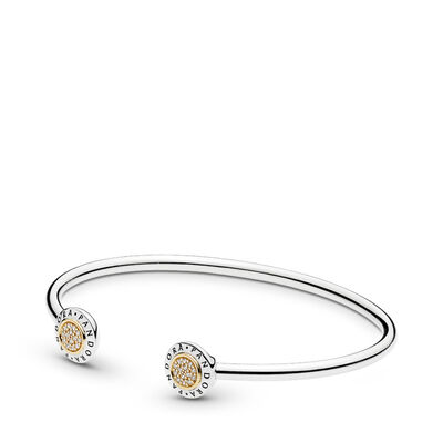 Srebrna bransoletka Open Bangle z logo PANDORA
